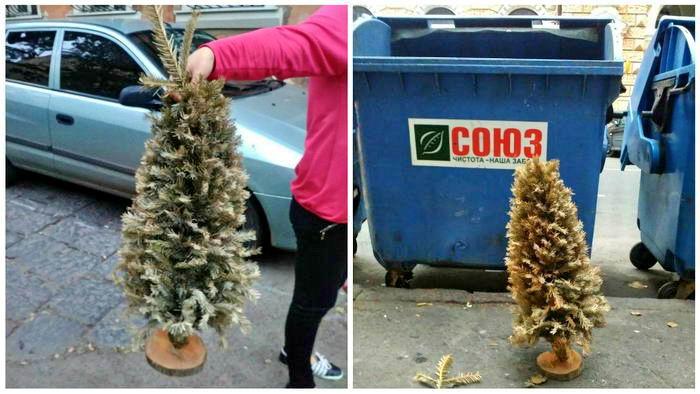 7899978 Еще один рекорд: в Одессе выкинули новогоднюю елку